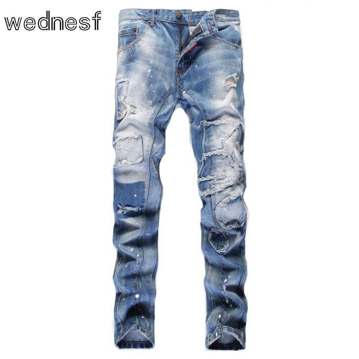 Fake Designer Mens Clothes | 1954 Light Blue Patchwork Slim Cheap Jeans Mens Fake Designer