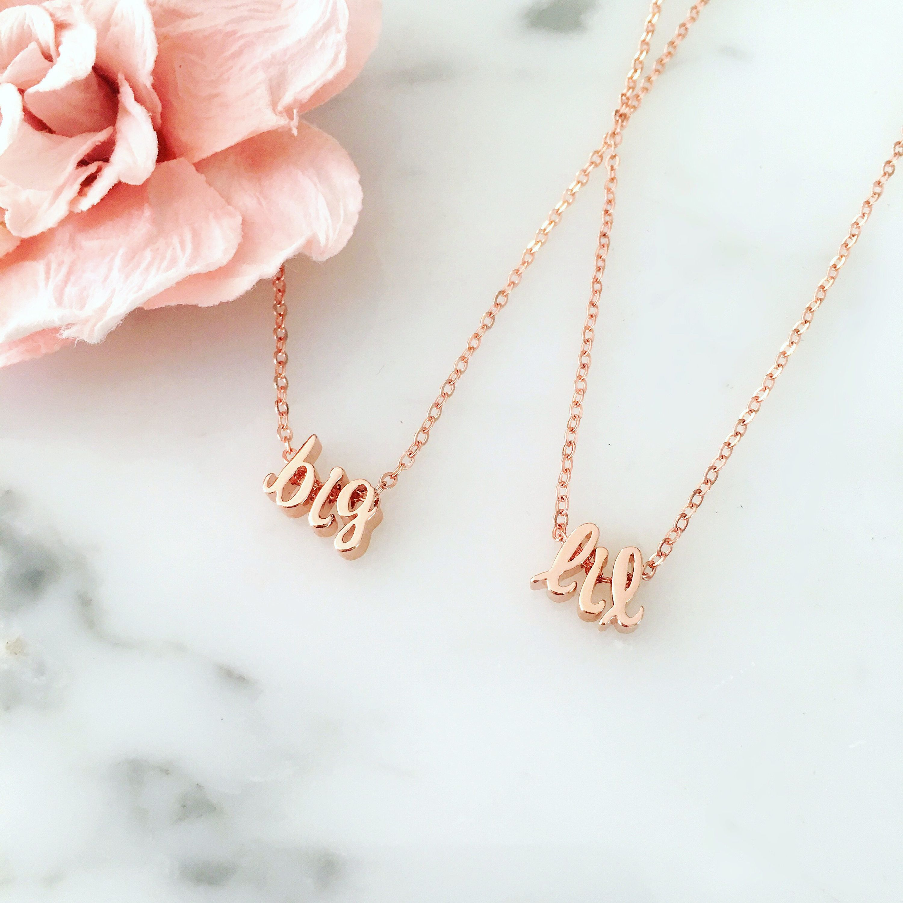 Tiny initial sorority greek life big and little necklace set srat