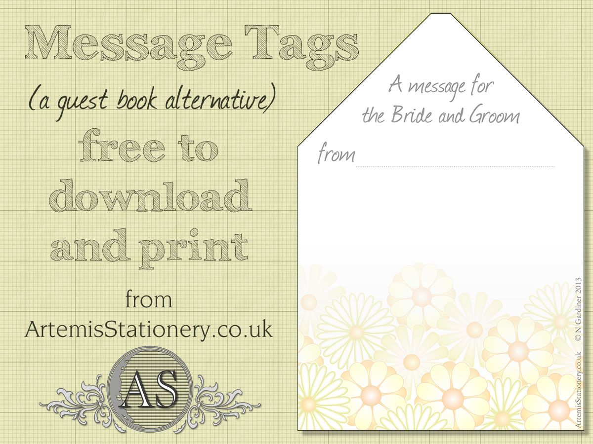 Free Wedding Stationery Message Card