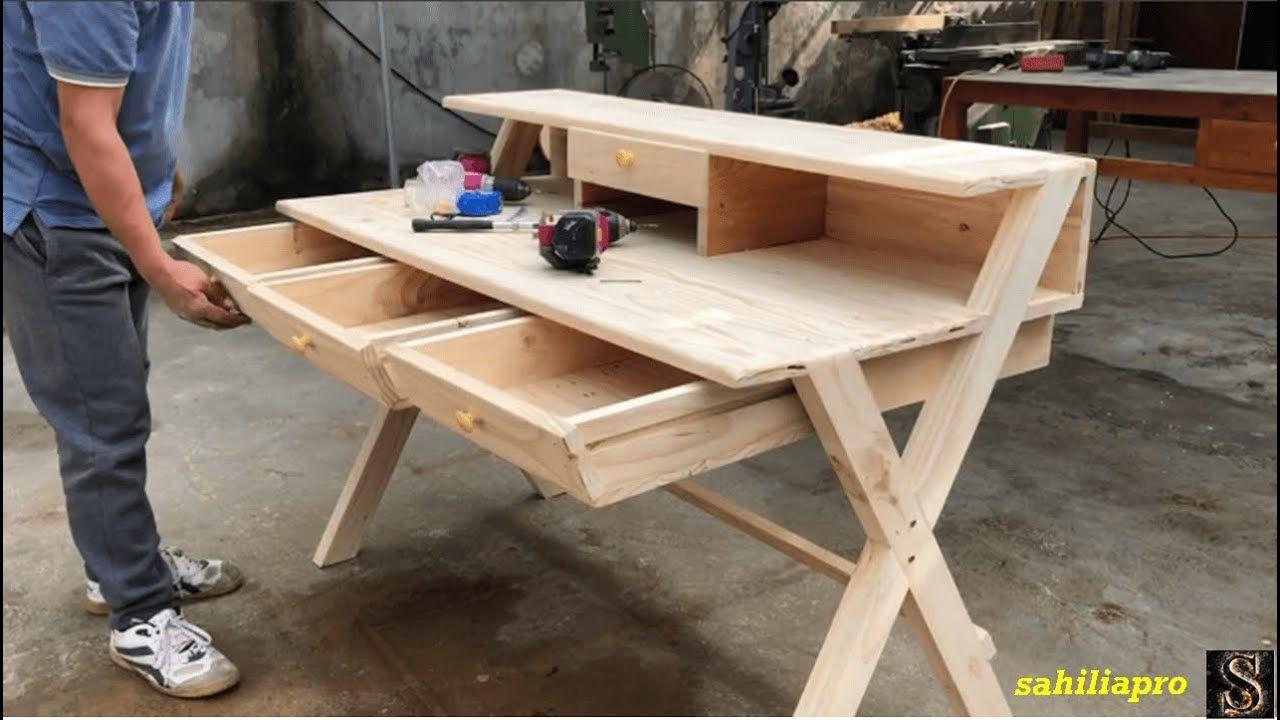 مهن أفكار النجارة الخشب من المنصات القديمة طريقة عمل مكتب ذو 4 أدراج Desk Home Decor Decor
