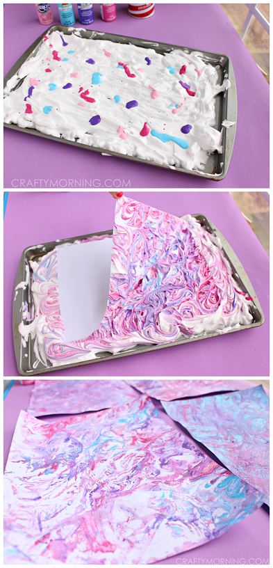 how to make marbled paper using shaving cream and acrylic paint super fun craft for kids to do. Black Bedroom Furniture Sets. Home Design Ideas