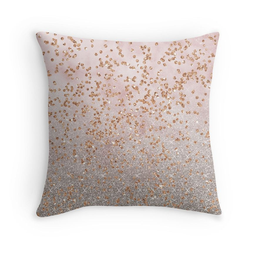 Mixed rose gold glitter gradients Throw Pillows