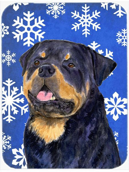 Rottweiler Winter Snowflakes Holiday Glass Cutting Board Large