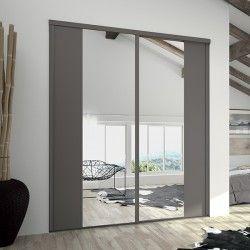 Portes Coulissantes De Placard Miroir Argent Et Chataigne Dressing - Porte placard coulissante et porte d intérieur pliante