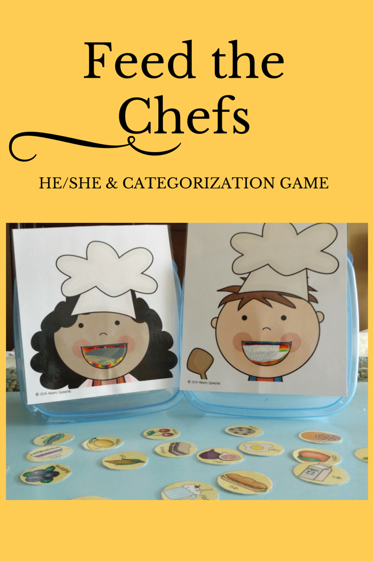 Feed the Chefs He/She and Categorization Game Speech