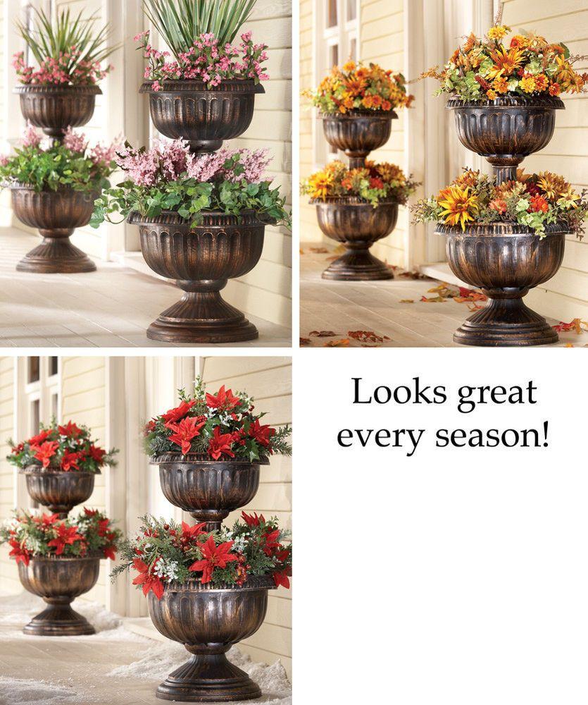 2 Tier Urn Planter Garden Yard Outdoor Decor New Flower Pots Outdoor Garden Planter Boxes Tiered Planter