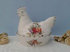 Regal Johnson Bros Fruit Ceramic Chicken Egg Basket Holder Hen Egg