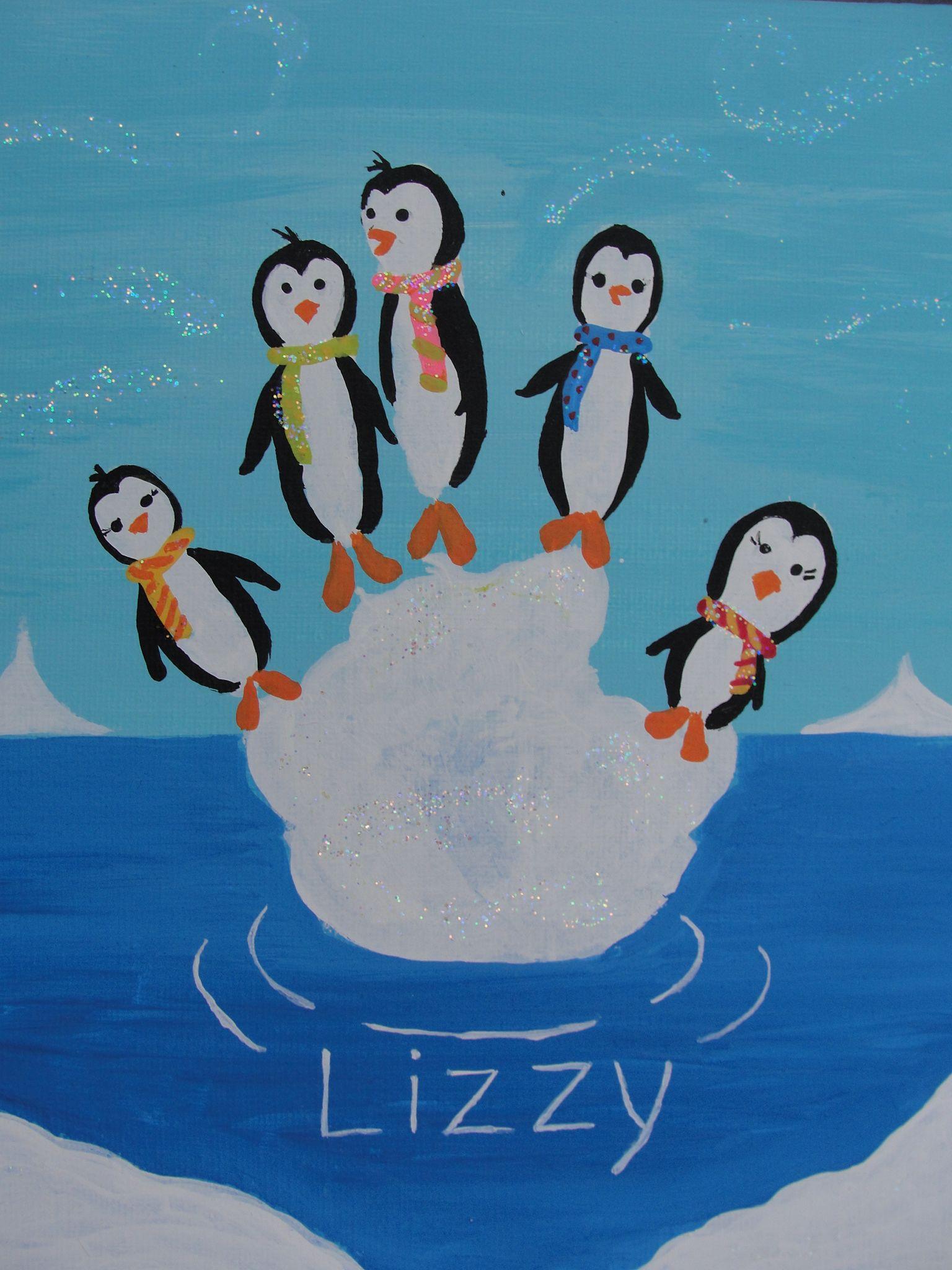 Pinguine auf dem Eisberg | Handabdruck bilder, Basteln