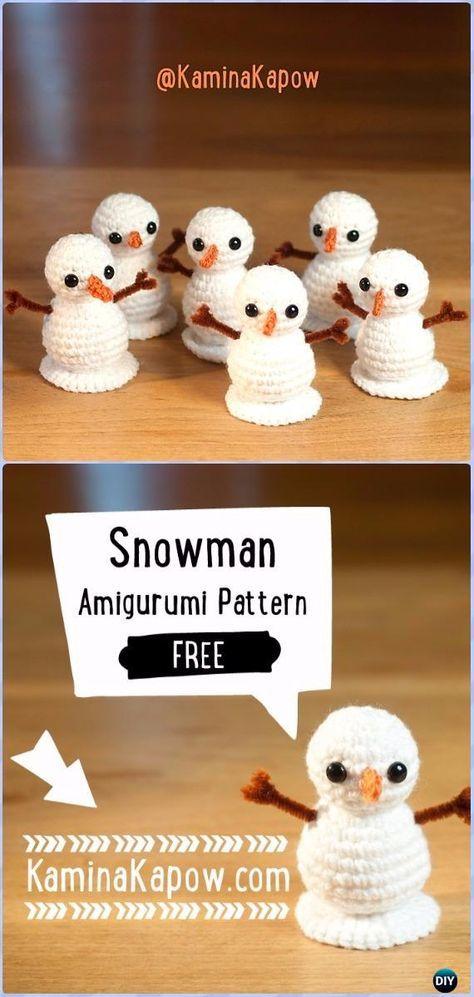 20 Amigurumi Crochet Snowman Softies Toys Free Patterns #freepattern