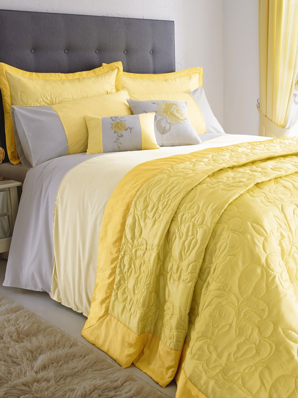 Yellow and grey curtains  Bedroom  Bedroom color schemes