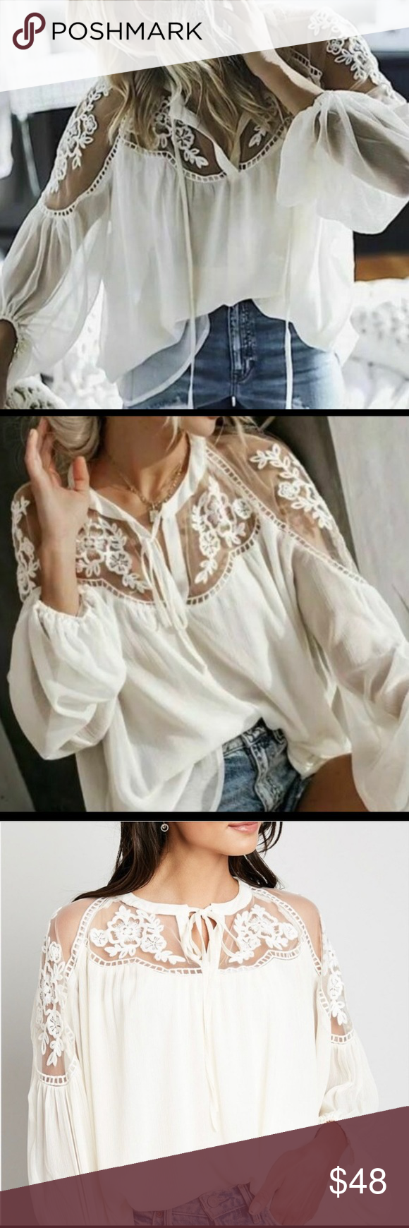 "Women's Chiffon Cream Lace Blouse NWT Women's Chiffon Cream Lace Blouse  NEW WITH TAGS Boutique Blouse featuring a cream vase with lace detailed shoulders and feminine flowing body.  Polyester Blend Medium/Large 26"" in Length  2XL/3XL 29"" in Length  1195 1196 Hayden Tops Blouses"