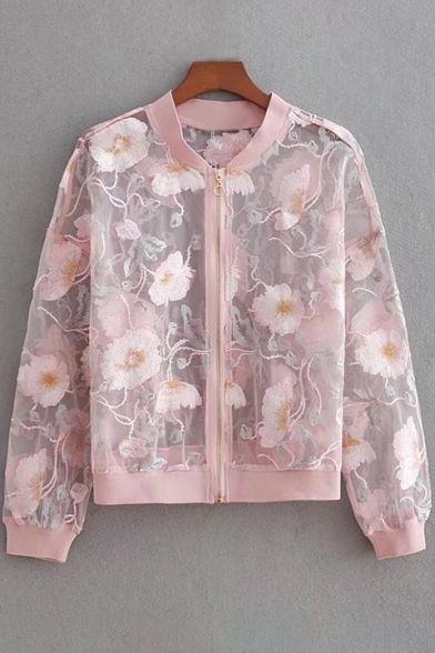 Manteau court à manches longues et zippé brodé floral sur le devant   – Style