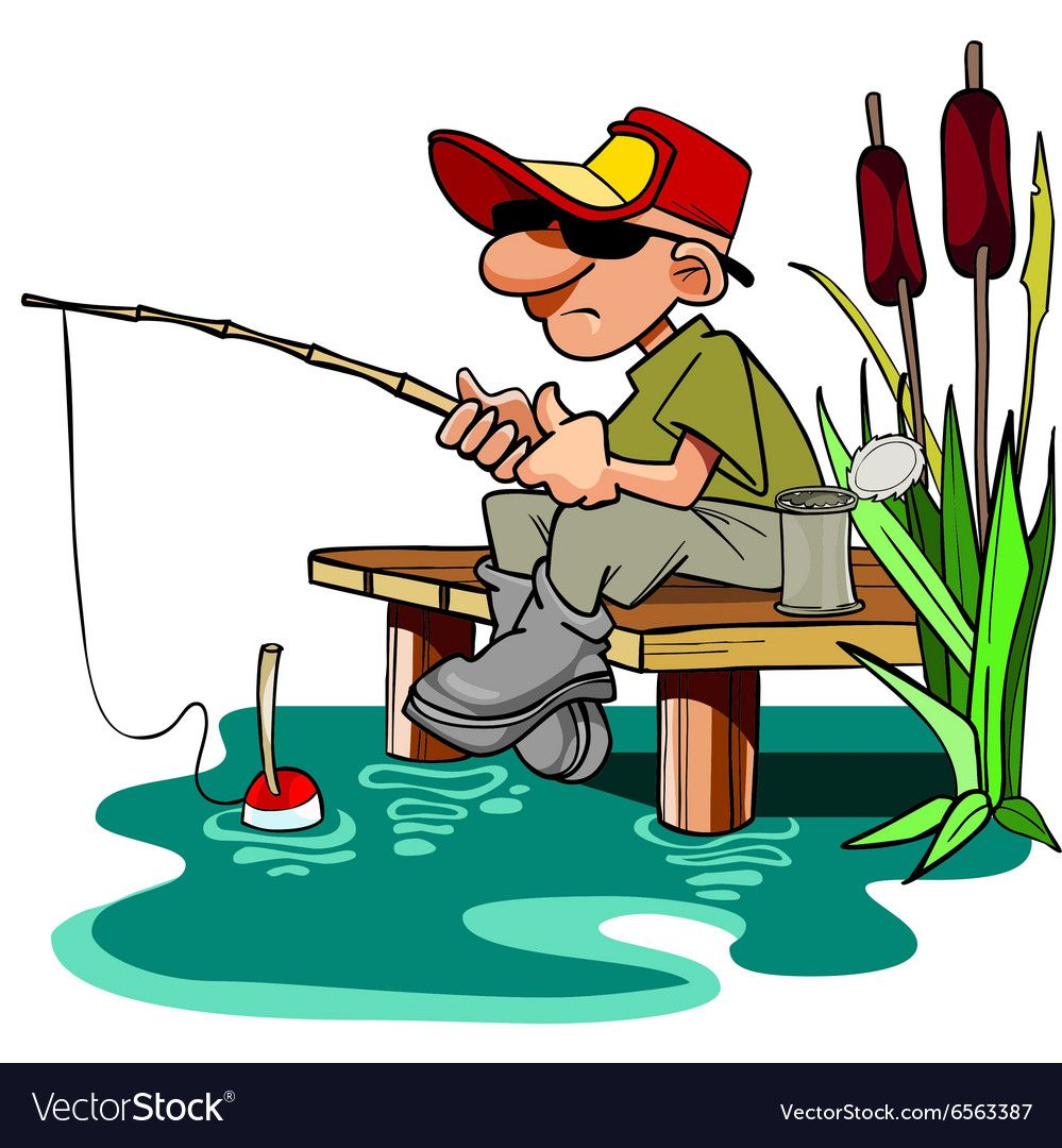 cartoon fisherman with a fishing pole sitting vector image on vectorstock cartoon fish fish art cartoon cartoon fisherman with a fishing pole
