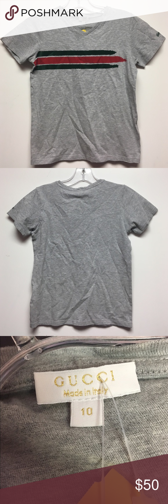 6349de372ecde Gucci boys size 10 grey t-shirt Gucci boys size 10 grey t-shirt. Short  sleeve cotton material. Gently worn in great condition. Consigned to my  boutique no ...