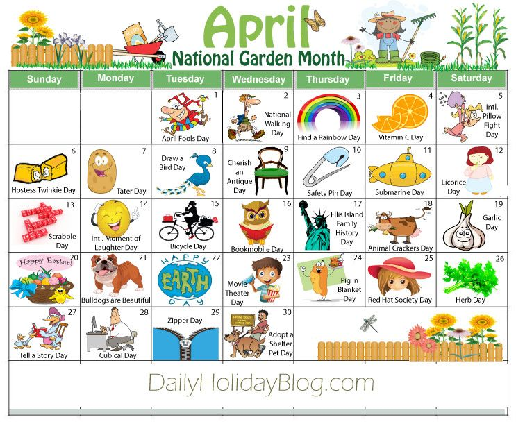 Calendar Monthly Observances : April holidays calendar free download calendars