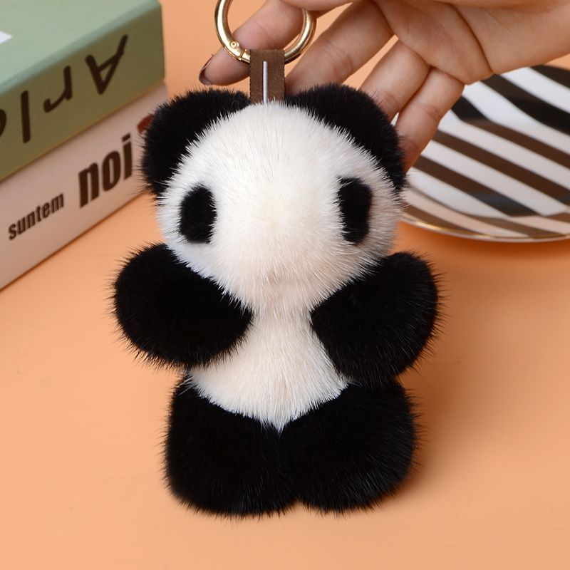 Cute Fluffy Genuine Real Mink Fur Pom Pom Pompom Plush Panda Keychain Key  Ring Key Chain Women Bag Charm Bag Accessories d65e5a468f