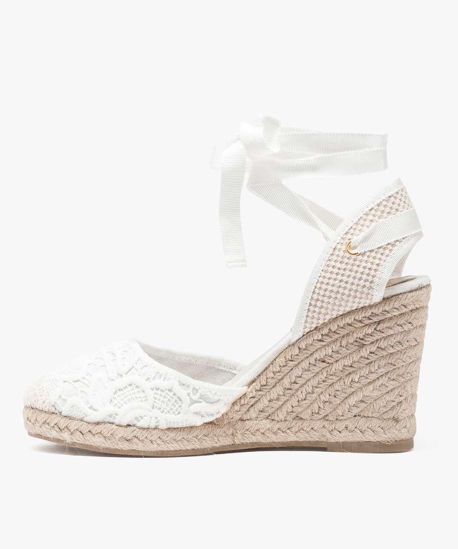 espadrilles talon compens blanc shoes pinterest talons compens s espadrilles et talons. Black Bedroom Furniture Sets. Home Design Ideas