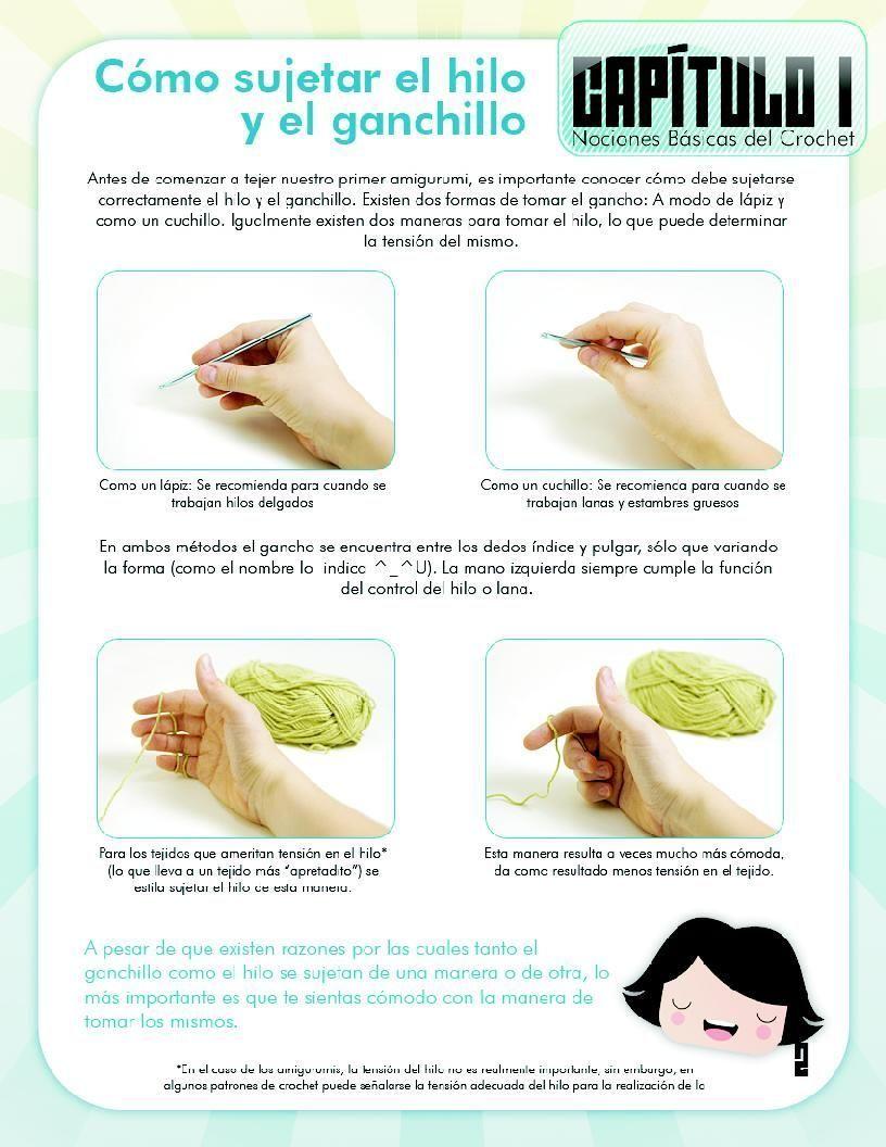 Cap 1. Pág 2/5. Como sujetar el hilo y el ganchillo. En http ...