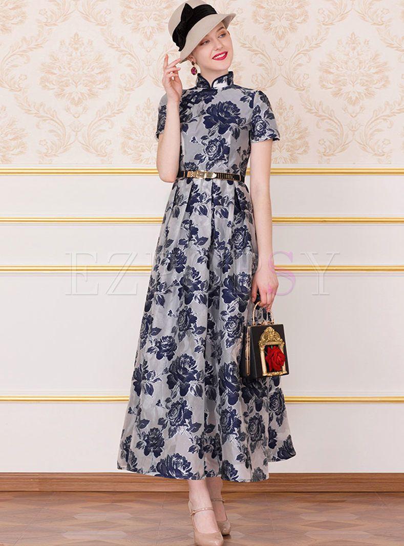 Vintage Mandarin Collar High Waist Print Dress Dresses Print Dress Vintage Maxi Dress [ 1066 x 789 Pixel ]