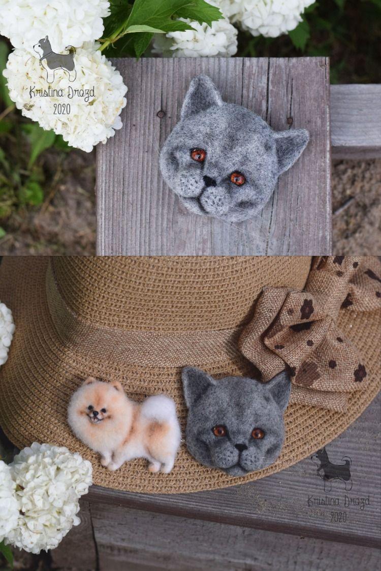 British blue shorthair Needle felting Wool brooch cat face