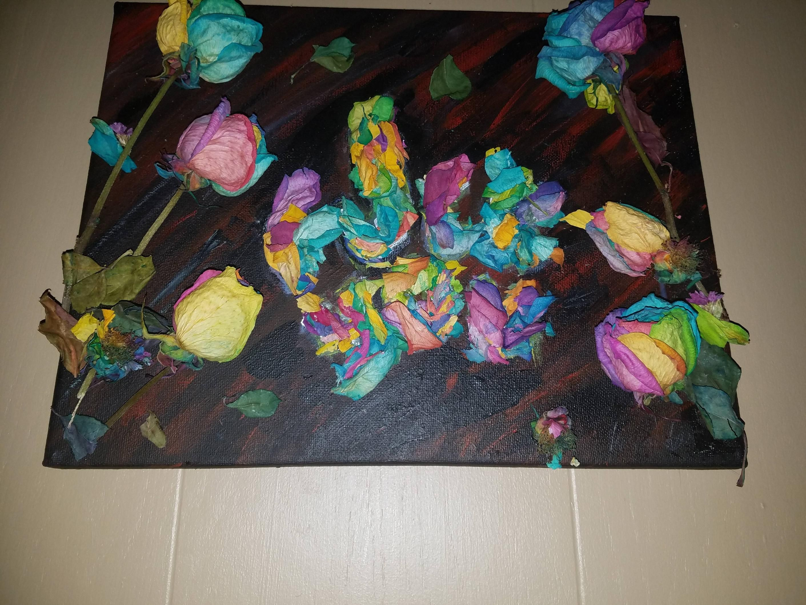 Acrylic and dried flowers..ex