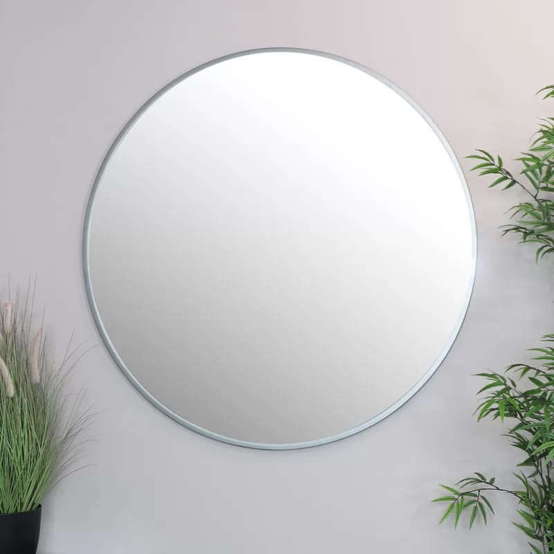 Extra Large Round Silver Wall Mirror 120cm X 120cm Silver Wall