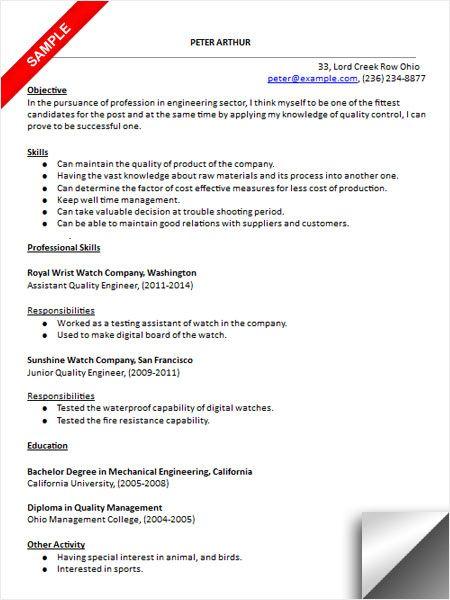 Quality Engineer Resume New Quality Engineer Resume Sample  Resume Examples  Pinterest