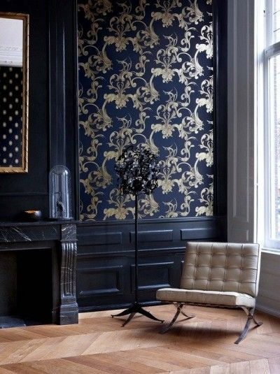Beautiful baroque wallpaper and modern furniture in a navy for Modern victorian interior design ideas