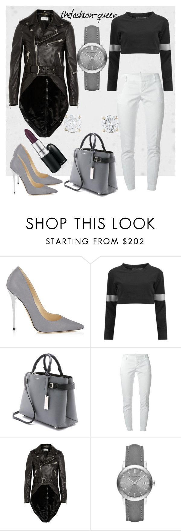 """Untitled #33"" by thefashion-queen ❤ liked on Polyvore featuring Jimmy Choo, Norma Kamali, Michael Kors, Dsquared2, Yves Saint Laurent and Burberry"
