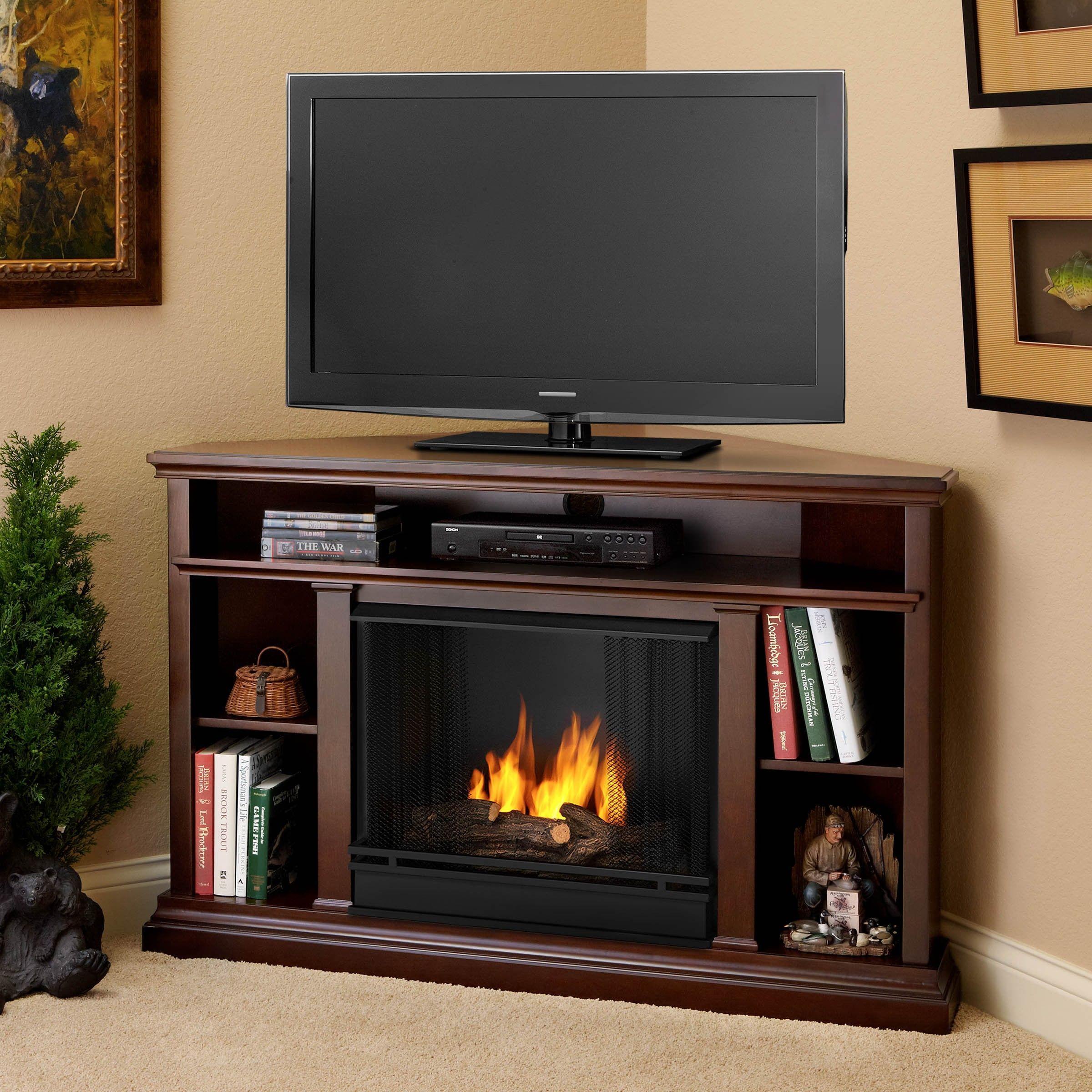 Real Flame Churchill Corner Dark Espresso Brown Gel Fireplace