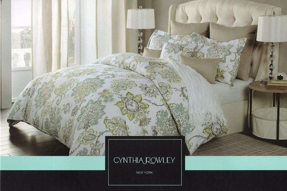 Cynthia Rowley Full Queen 3pc Duvet Cover Gray Turquoise Yellow