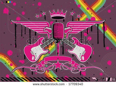 Microphone, Guitar And Wing Motif In Pink. Stock Vector ...