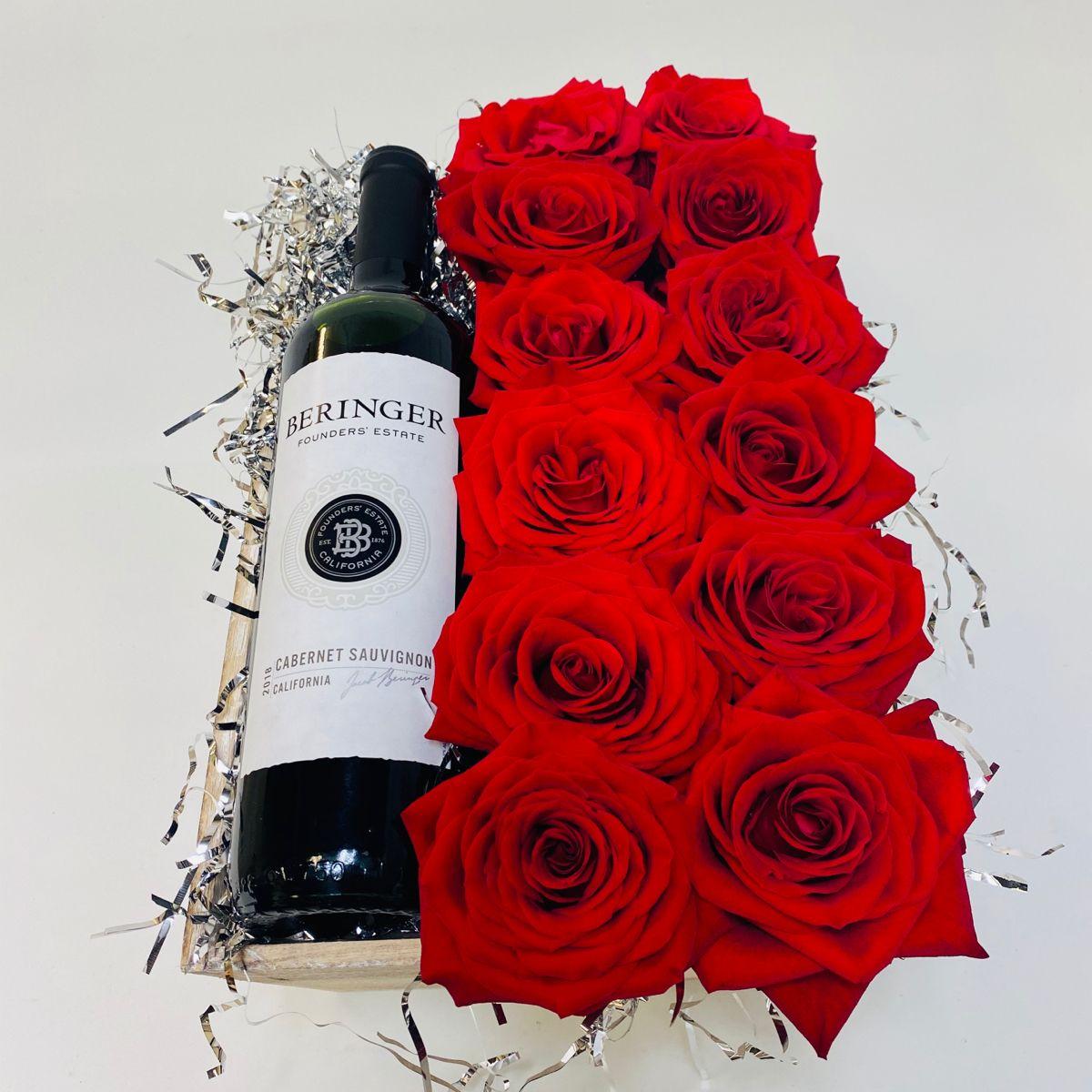 Beringer Wine Red Roses Basket Beringer Wine Wine Red Roses