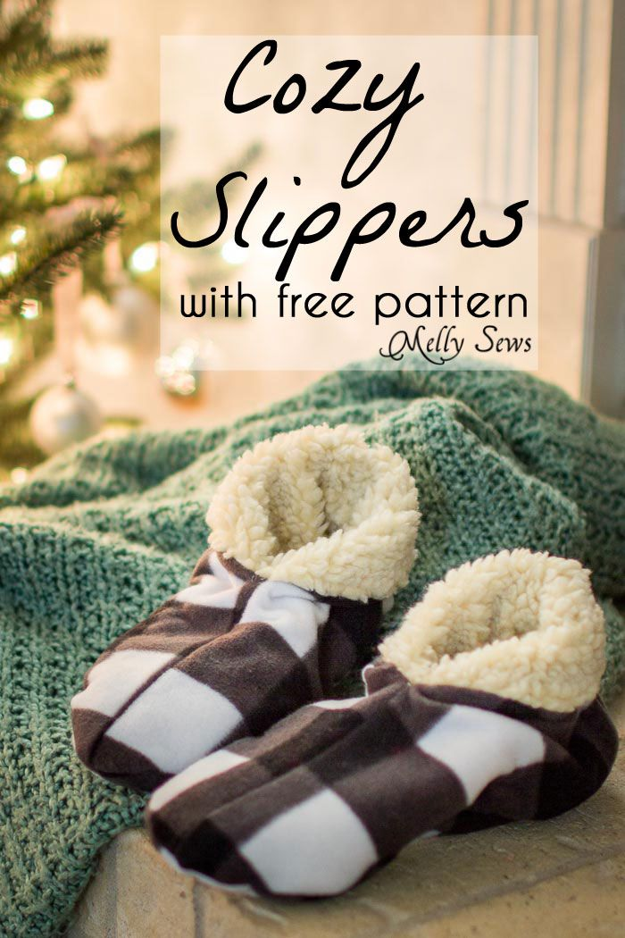Sew Slippers - Free Pattern and Video Tutorial   Pinterest   Man ...