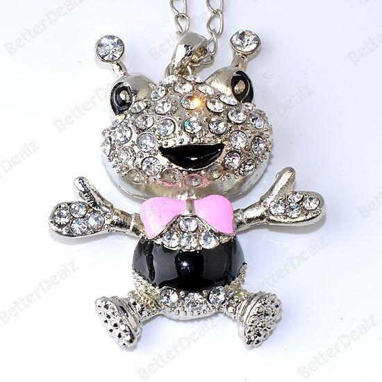 1PC Silver Plate Crystal Enamel Frog Animal Bead Pendant Jewelry Free ship
