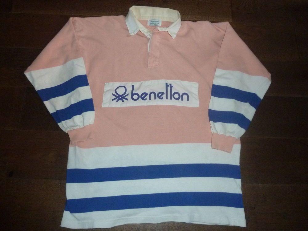 Vtg Original Fila Bj Borg Benetton Pink Blue White Rugby Shirt 1980s Casuals Xl 410 00