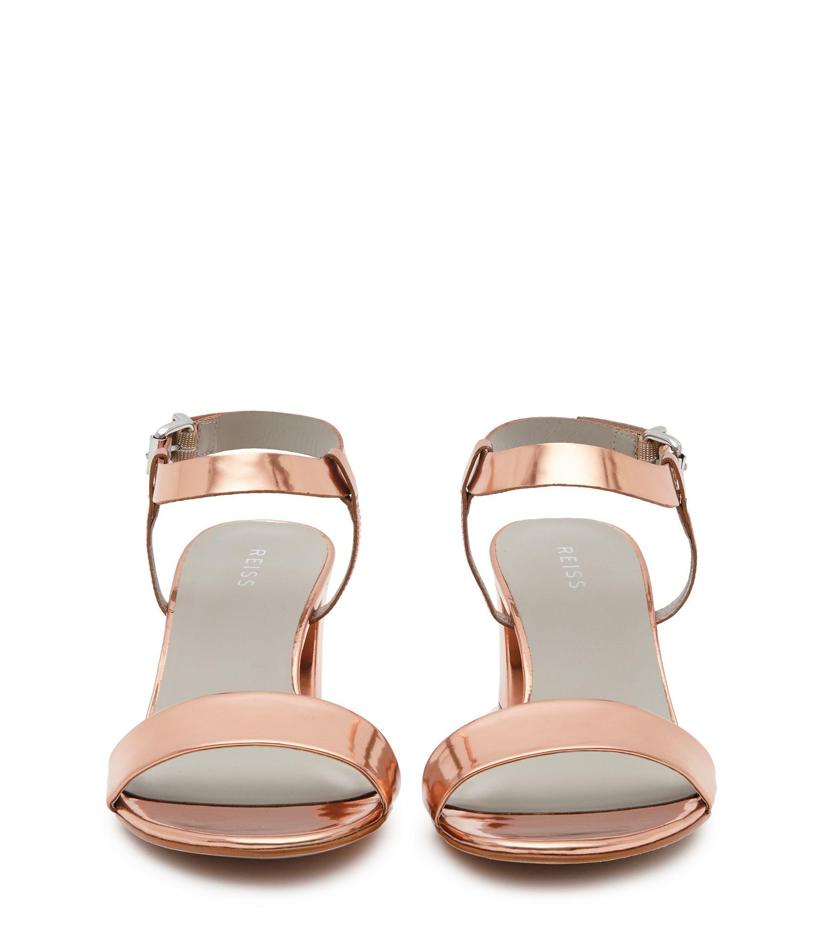 Womens sandals mid heel - Womens Rose Gold Block Mid Heel Sandals Reiss Vivi