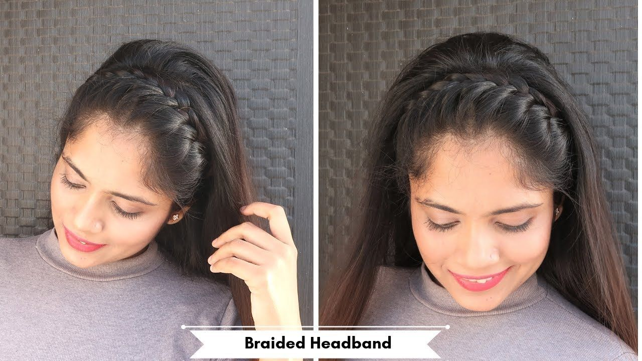 Braided Full Headband Hairstyle Open Hair Hairstyle For Party Function Braided Function Hairstyle H Open Hairstyles Hair Styles Braided Headband Hairstyle