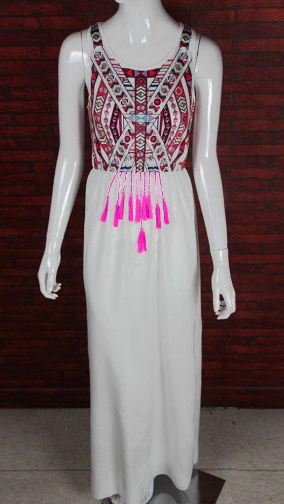 White Floral Print Tassel Floor Length Sexy Summer Beach Evening Party Bohemian Chiffon Maxi Dress - Maxi Dresses - Dresses