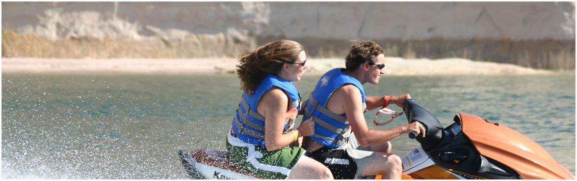 Powerboats jet skis wakeboards water skis kayaks