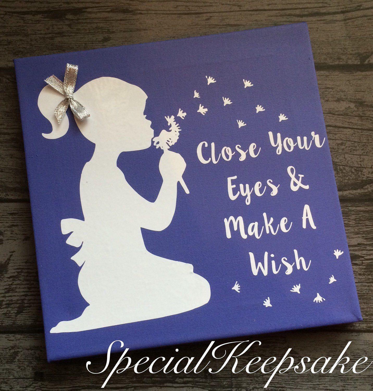 Make A Wish Canvas Pretty Girl Sparkle Nursery Bedroom ...