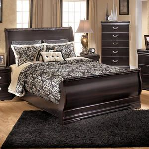 Affordable sleigh bed from Ashley Furniture with faux marble ...