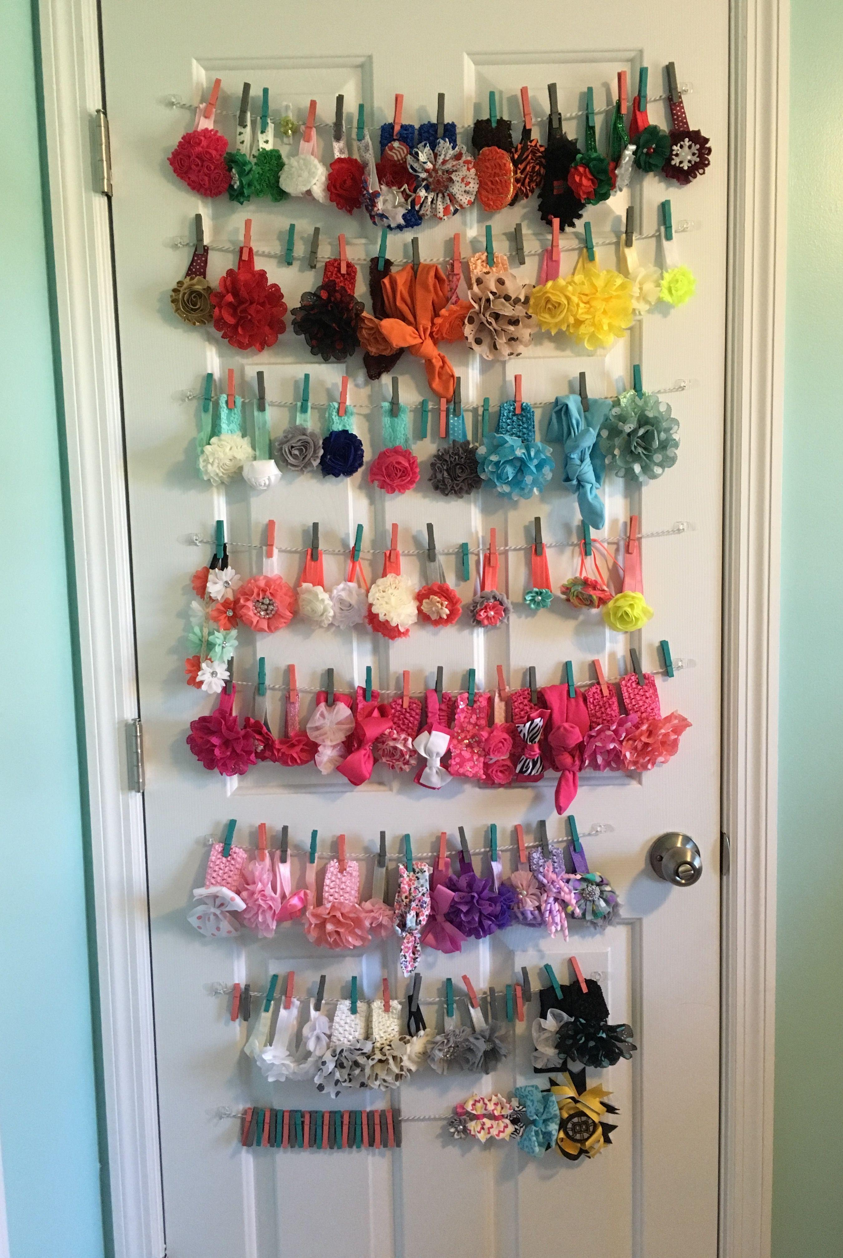 Headband Display Baby Nursery Door Clothespins Headbands Girl Toddler Room Decor Girls