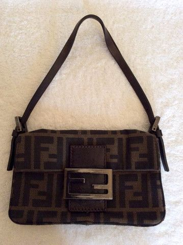 FENDI SMALL BROWN CANVAS & LEATHER BAG Whispers Dress