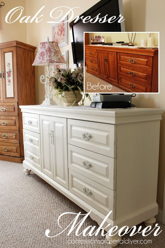 This Was A Dated Oak Dresser That Brought To Life With Diy Chalk Paint