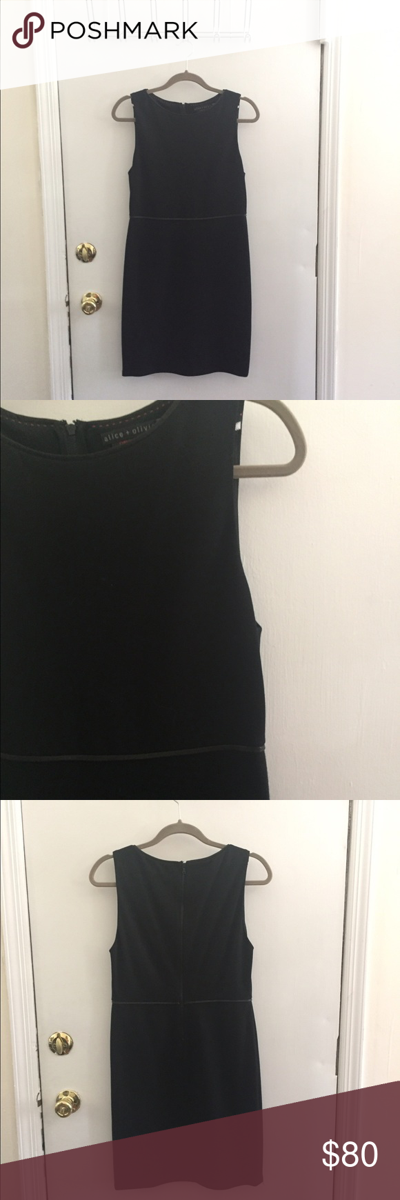NWT Alice + Olivia Black Sheath Dress Size 8 NWT Alice + Olivia Black Sheath Dress. Size 8. Has leather trim around waist. Rayon blend. Very stretchy, forgiving fit. Great LBD that can go from work to play. Hits above knee Alice + Olivia Dresses Midi