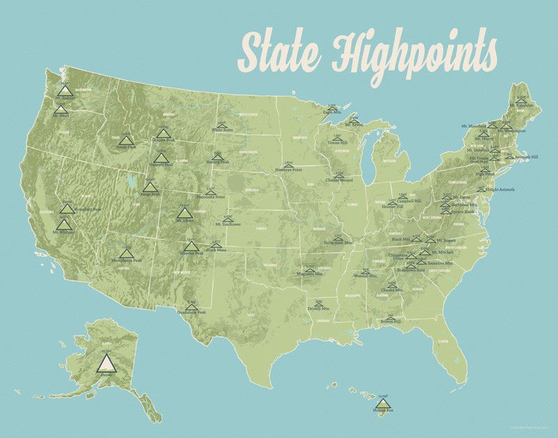 State High Points Map 11x14 Print   Products   Pinterest   Products