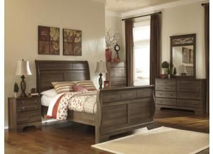 Mb15 Aged Oak Queen Sleigh Bed Dresser Mirror Nightstand Bedroom Furniture Sets Ashley Bedroom Furniture Sets Ashley Furniture Bedroom