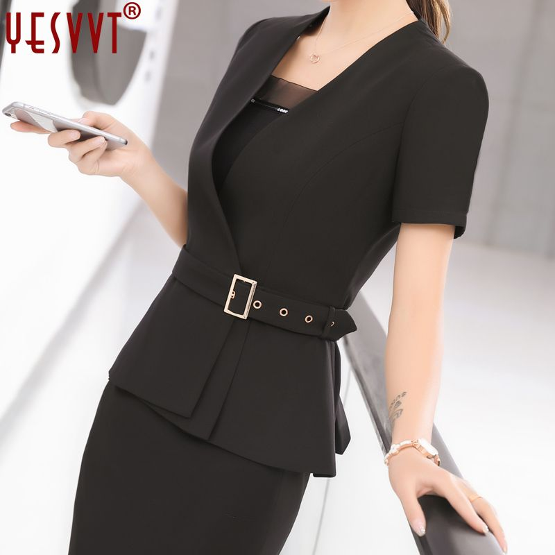 e1181fe970dd8 yevvt Women Blazer Set Two pieces Suits Summer Ladies Formal Skirt ...