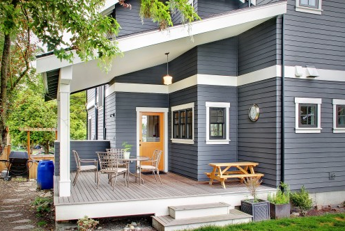 Covered Deck Gray House Exterior House Exterior Blue Exterior Paint Colors For House
